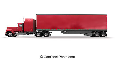 Side view of a big red trailer truck - Lateral view of a big...