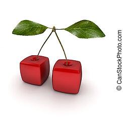 Cubic Cherries - 3D rendering of a pair of cubic cherries