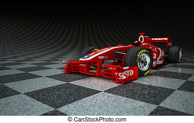 Race car checker - Race car with fake logos in a checkered...
