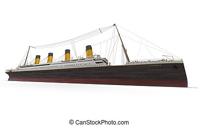 Titanic side view - Side view of 3D rendering of the Titanic