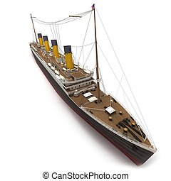 Aerial view of Titanic - Aerial view of a 3D rendering of...