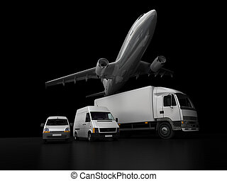 Transportation business on black - 3D rendering of an...