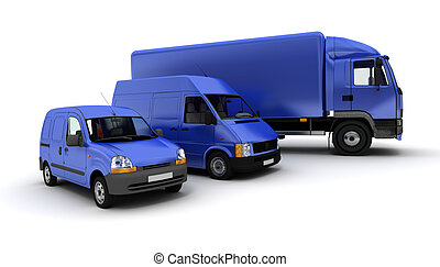 Transportation fleet in blue - 3D rendering of a truck, a...