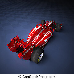 race car red - 3D rendering of a Race car with fake brands
