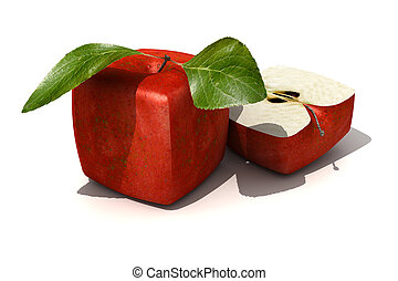 Red apple cube - 3D rendering of a cubic red apple and a...