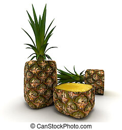 Cubic pineapple - 3D rendering of a cubic shaped pineapple