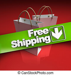 Purchase, free shipping - Shopping bags with a banner...