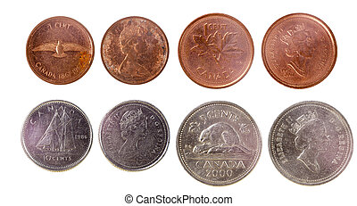 four old canadian coins