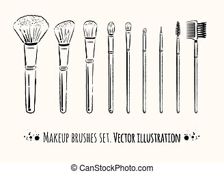 Makeup brushes kit.  Hand drawn vector set.