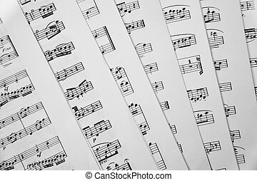 Music scores - Shot of seven scattered music scores books.