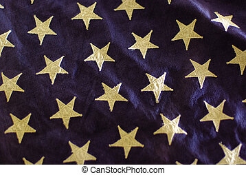 Stars of an old American Flag - Detail on an old American...