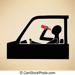 Drunk driving - This is an illustration about drunk driving