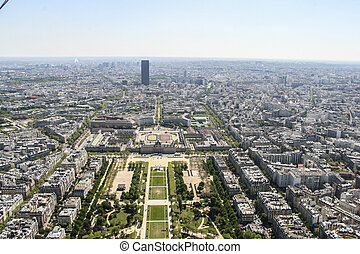 Champ de Mars from the Eiffel Tower, Paris - Aerial View on...