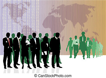 World Business Traders - Vector illustration of old and...