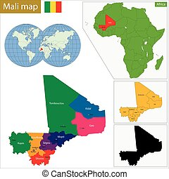 Mali map - Administrative division of the Republic of Mali