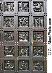 Door of Grossmunster Cathedral Zurich