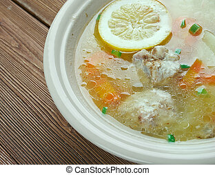Lemon Chicken Orzo Soup close up