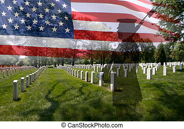 Soldier silhouette, american flag and grave stones. - Great...