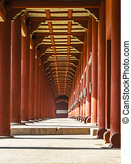 Red porch vanishing point - Vanishing point view of a red...