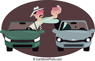 Road rage - Two angry motorists strangling each other,...