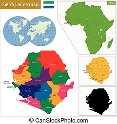 Sierra Leone map - Administrative division of the Republic...
