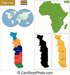 Togo map - Administrative division of the Togolese Republic,...