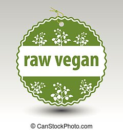vector green raw vegan product paper price tag label with...