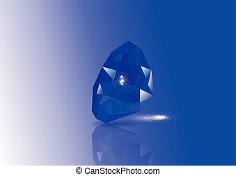 sapphires with reflection and light on blue background
