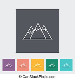 Mountain icon - Mountain Outline icon on the button Vector...