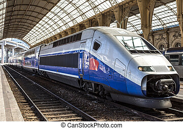 Passenger train at Nice train station - Passenger train...
