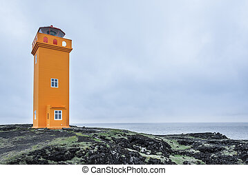 Saxholsbjarg orange lighthouse in Snaefellsnes, Iceland