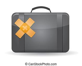 suitcase band aid fix solution concept illustration design...