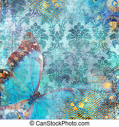 Blue Grunge Floral Background - Vintage Wallpaper