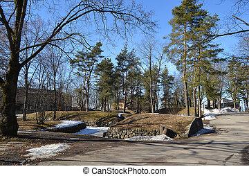 Park in Lappeenranta - Park in Lappeenranta at early spring,...