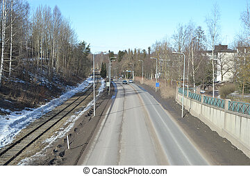 Highway and railway in Lappeenranta - Highway and railway in...