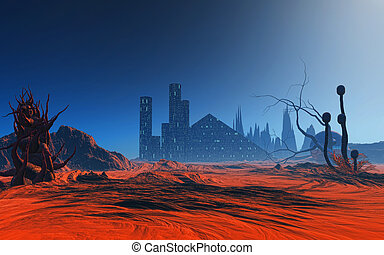 3D abstract alien planet - 3D render of a fantasy alien...