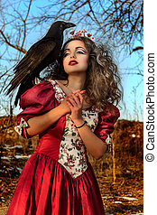 Beautiful woman in vintage red dre