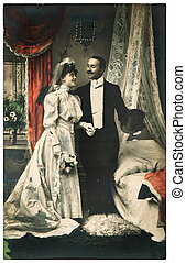just married couple antique wedding photo - FRANCE, PARIS -...