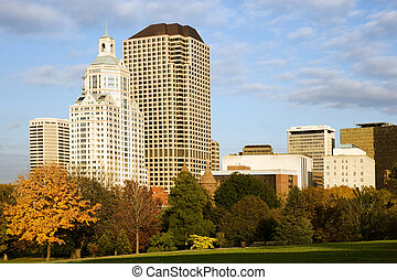 Hartford cityscape - Highrise buildings along Bushnell park,...