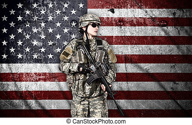 soldier with rifle - US soldier with rifle on usa flag...