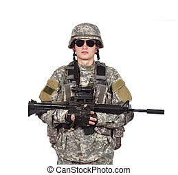 US soldier holding rifle - US soldier holding his assault...