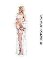 girl in peignoir - charming girl in white peignoir isolated...