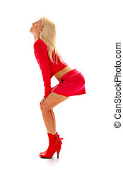seductive blonde in red isolated on white background