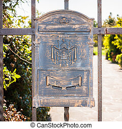 Letter box wrought iron with decorations