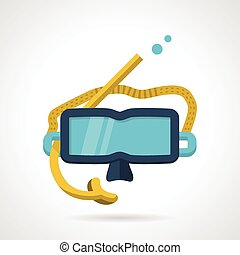 Snorkeling mask flat vector icon - Flat color design vector...