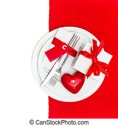 Valentines Day place setting with candle heart - Valentines...