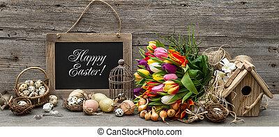 easter decoration with eggs and tulip flowers vintage style...