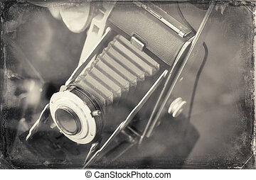 Antique Camera - Antique accordion lens autographic fold-out...