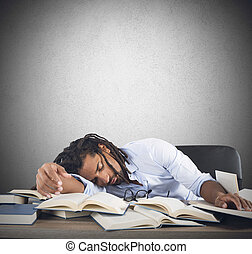 Tired teacher falls asleep while reading books