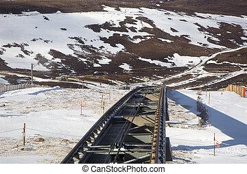 funicular railway - A shot of a funicular railway track